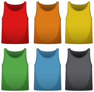 Sleeveless shirts in six different colors
