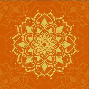 Mandala patterns on orange background illustration