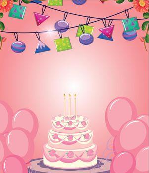 Cake on pink birthday card illustration