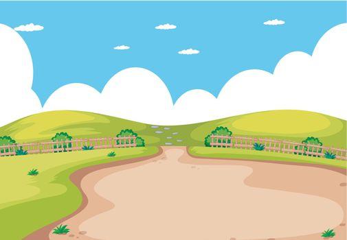 A flat nature landscape illustration