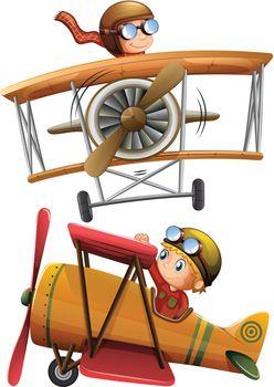 Set of classic airplane illustration