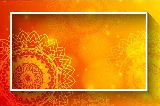 Border template with mandalas on orange background