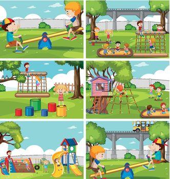 Children at playground set