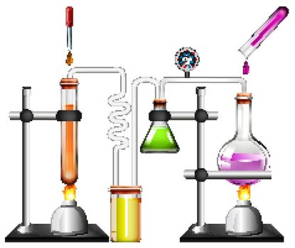 Science equipments on white background
