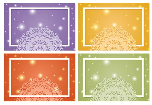 Four background with mandala patterns