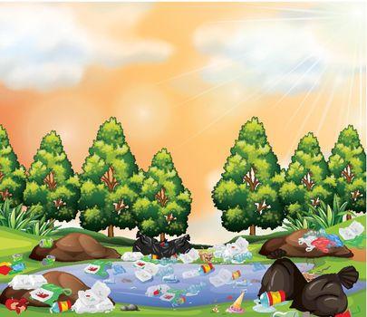 Rubbish in park scene illustration