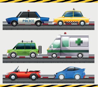 Set of different car on the road illustration