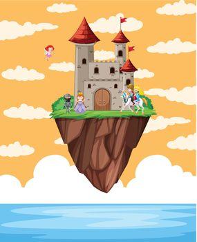 Castle floating on island scene