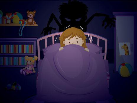 Girl in bedroon with nightmare