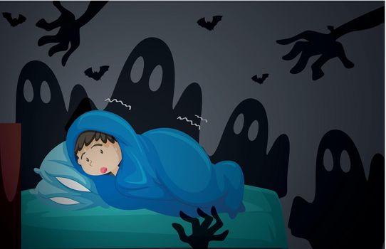 A boy having nightmare