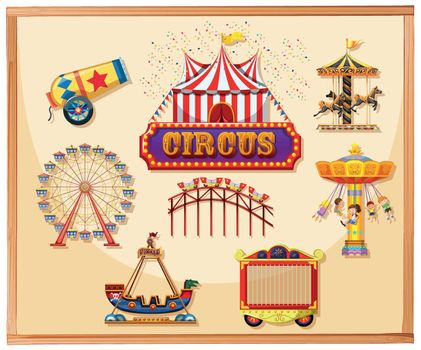 Circus elements for poster including canon, cage, games and rides