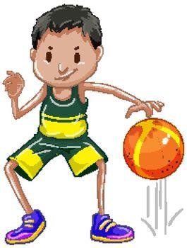 Athlete bouncing basketball on white background