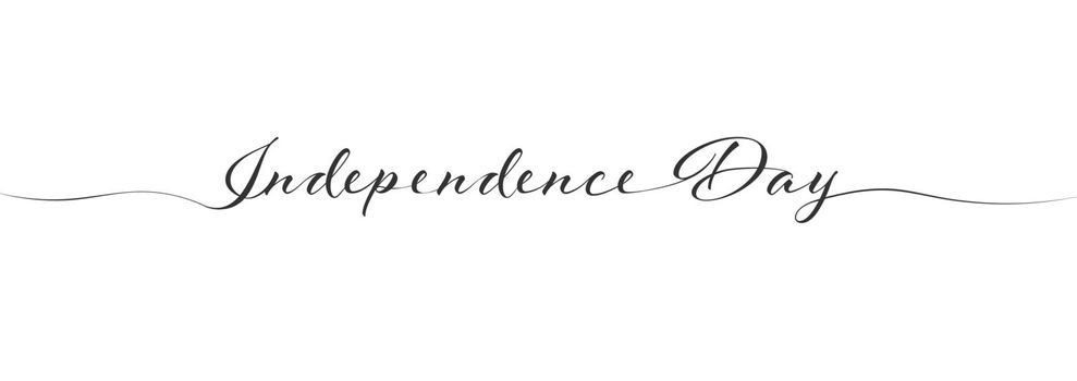 Stylized calligraphy inscription Independence Day in one line. Simple Style