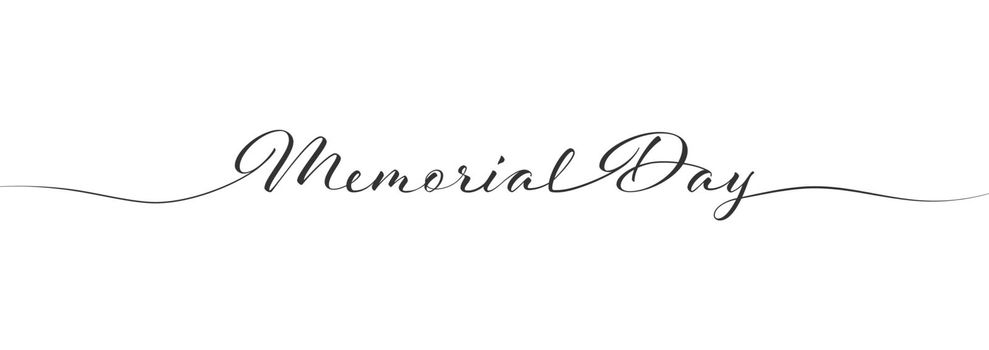Stylized calligraphic inscription Memorial Day in one line. Simple Style