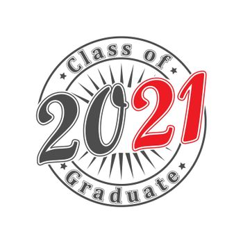 inscription Class of 2021 stylized as an impression of a seal or stamp. Simple Style