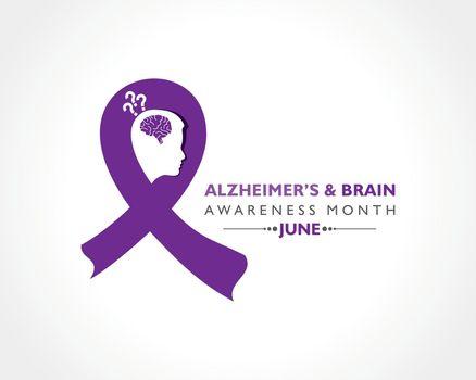 Vector Illustration of Alzheimer's and Brain Awareness Month observed in June.