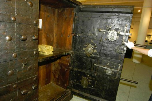 safe in a bank for securing money and other valuables