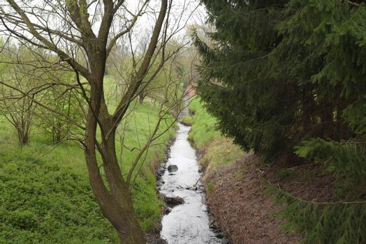 a runnel or a small stream of water in nature