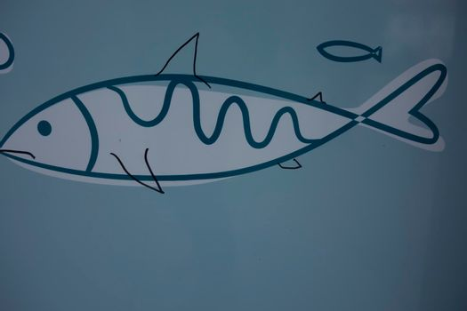 fish symbol, an aquatic animal which lives in the water