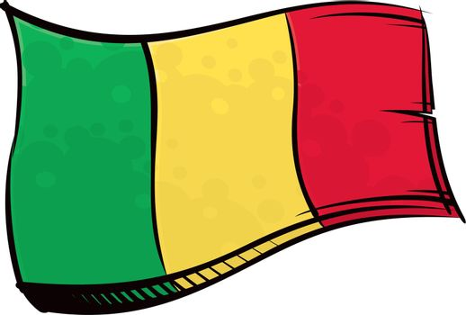 Painted Mali flag waving in wind