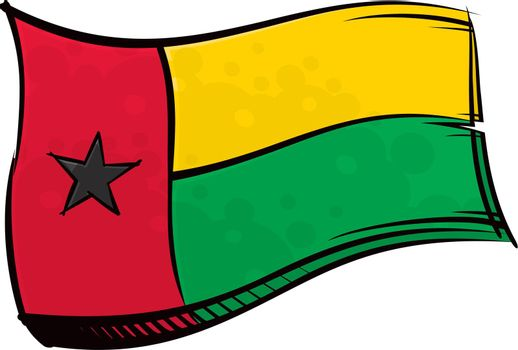 Painted Guinea-Bissau flag waving in wind