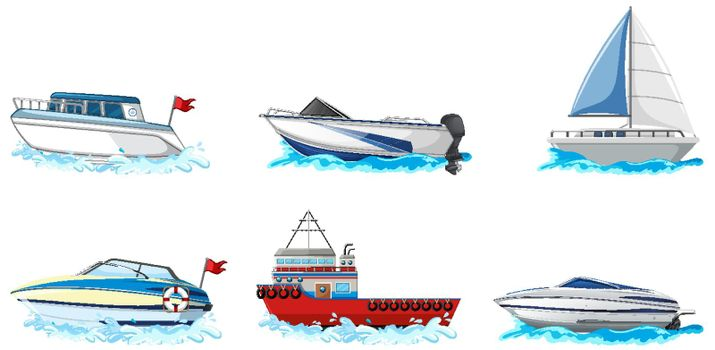 Set of different kind of boats and ship isolated on white background illustration