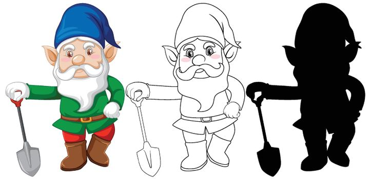 Gnome with shovel in color and outline and silhouette in cartoon character on white background illustration