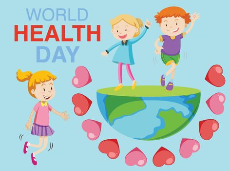 Poster design for world health day with children on earth in background