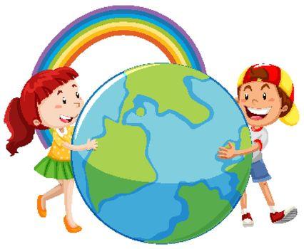 Big globe with two happy kids hugging it