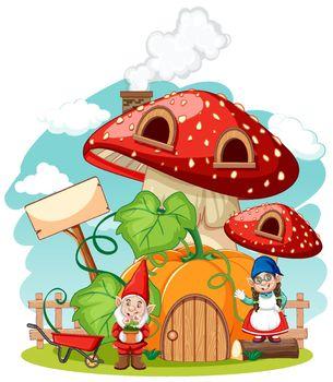 Gnomes and mushroom pumkin house cartoon style on white background