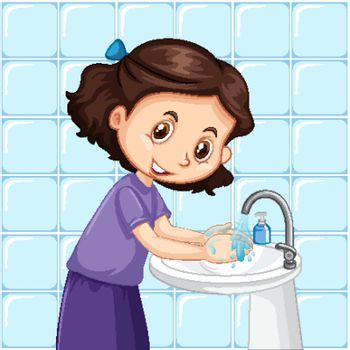 A girl cleaning hands illustration