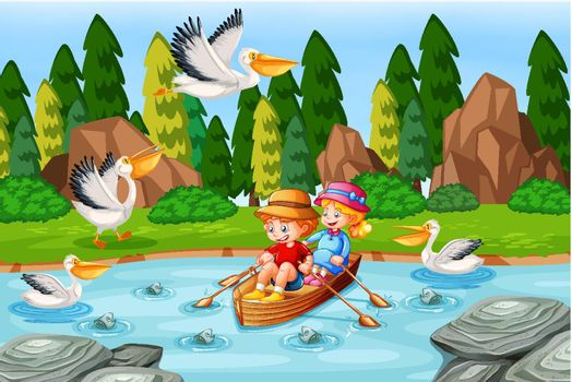 Children row the boat in the stream forest scene illustration