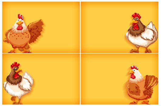 Background template with plain color and chickens illustration