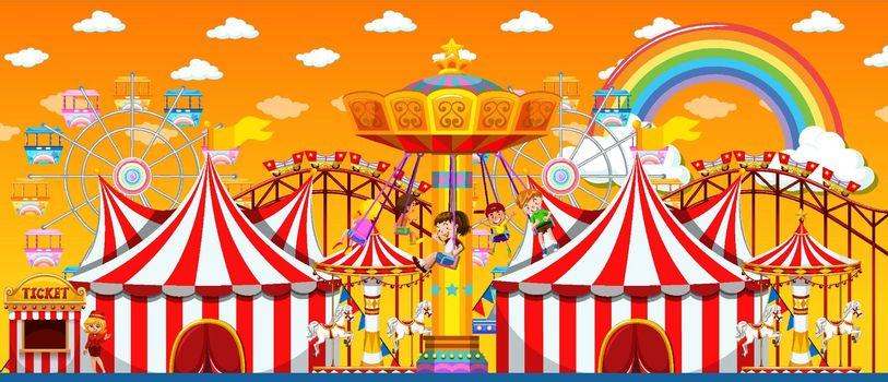 Amusement park scene at daytime with rainbow in the sky illustration