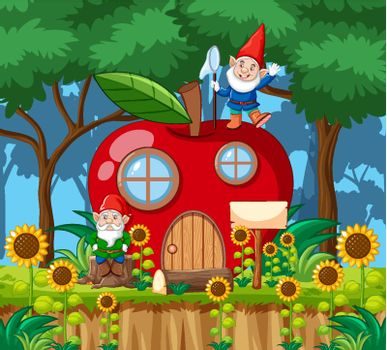 Gnomes and red apple house cartoon style on forest background illustration