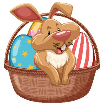 Easter bunny with decorated eggs in brown basket