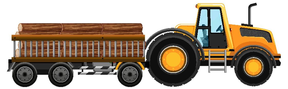 Set of tow truck carrying woods isolated background