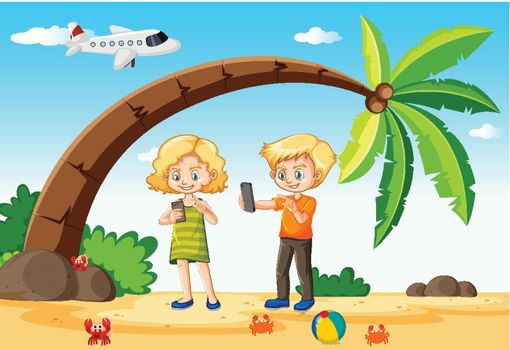 Kids using smart phone during travelling with beach and plane background