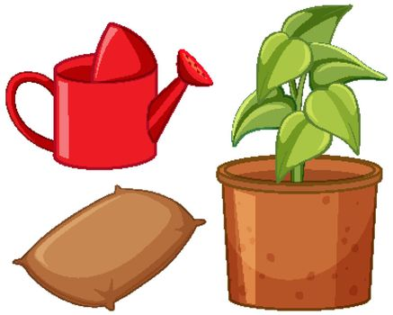 Gardening tools with plant in a pot
