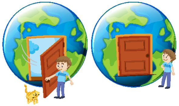 World with door closed and opened on white background