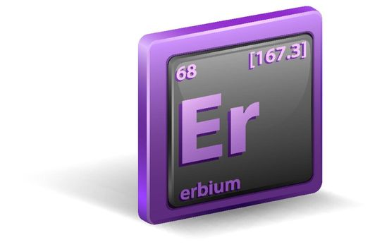 Erbium chemical element. Chemical symbol with atomic number and atomic mass. illustration