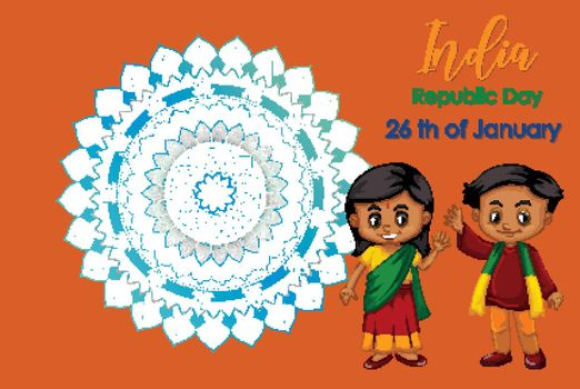 India Republic day poster design with two children illustration