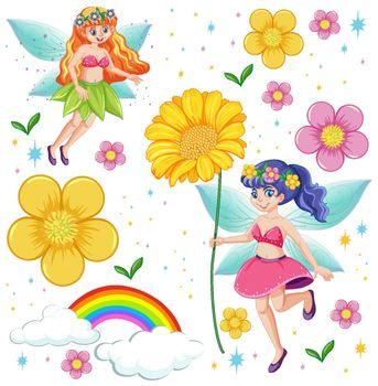 Set of fairy tale fantasy cartoon character  on white background illustration