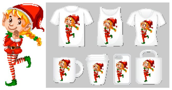 Christmas theme with elf on product templates illustration