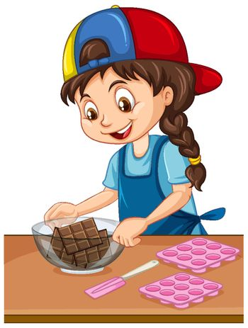 Chef girl with baking equipment on the table illustration