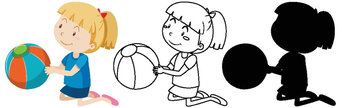 Girl with the ball in color and in outline and silhouette
