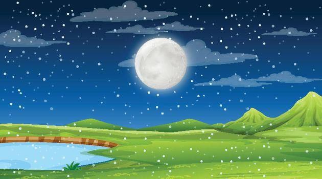 Blank nature landscape at night scene