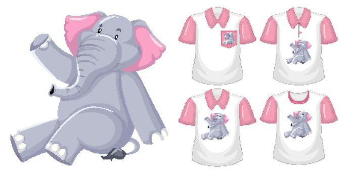 Set of different shirts with elephant cartoon character isolated on white background