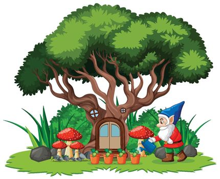 Gnomes and tree house cartoon style on white background