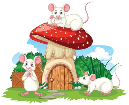 Mushroom house with three mouses cartoon style on white background